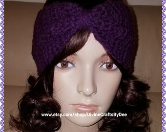 Crochet Purple Headband and Ear Warmer - Adult