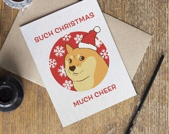 Doge Meme Card - Christmas Holiday - Such Doge Much Funny Wow - Funny Joke Cards - Merry Christmas - Boyfriend Girlfriend - Dog Shiba Inu