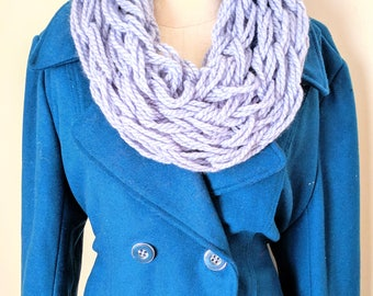 Periwinkle Arm Knit Scarf | Light Blue Scarf | Light Blue Arm Knit | Blue Neck Warmer | Chunky Knit Scarf | Gifts for Valentine's Day |
