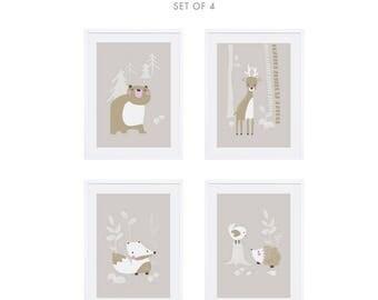 Prints for kids / posters for kids / nursery art / nursery wall art / nursery prints / nursery decor / kids room decor / Woodland