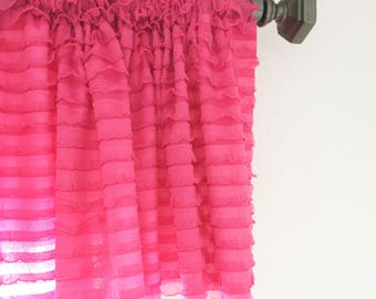 Hot Pink Ruffled Curtain Valance- Hot Pink Ruffle Window Treatment, Baby Girls Nursery - Pink Valance - Pink Ruffle Valance, Kitchen Valance