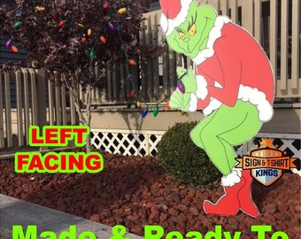 GRINCH Stealing CHRISTMAS Lights Yard Art Decor LEFT Facing Grinch Fast Shipping