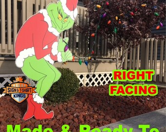GRINCH Stealing CHRISTMAS Lights Yard Art Decor RIGHT Facing Grinch Fast Shipping  Right Facing