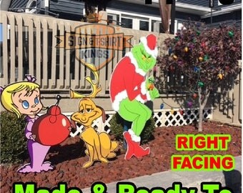 GRINCH Stealing Max The Dog & Cindy Lou Who CHRISTMAS Lights Yard Art Decor RIGHT Facing Grinch Fast Shipping