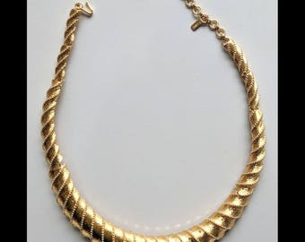 Monet Gold Plated Hinged choker bib necklace