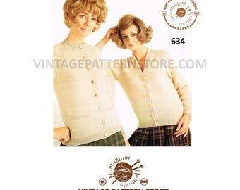 "Ladies 1970s, v or round neck, easy to knit, raglan sleeve cardigan 34"" - 44"" chest - Vintage PDF Knitting Pattern 634"