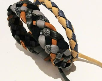 2 braided leather bracelets