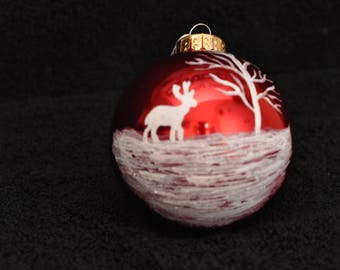 Red Ornament with Hand Painted Winter Scene