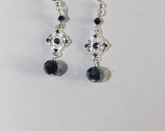 Earrings Swarovski Crystal Black and silver nickel, lead and cadmium