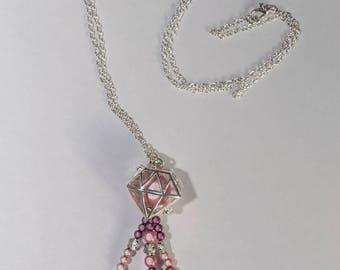 """Pink and purple diamond shape"" necklace adjustable"