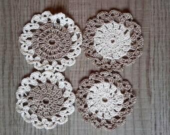 4 small doilies crochet