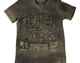 Quetzalcoatl v-neck shirt, Feathered Serpent, Aztec, Mayan, Xochicalc, vintage style