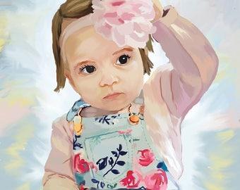 Custom Portrait,Custom Children's Art,Custom Children Portrait,Portrait From Photo,Digital Portrait,Baby Portrait,Personalized Kid's Drawing