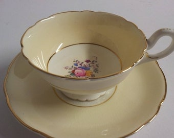 Coalport Bone China Yellow Floral Tea Cup & Saucer
