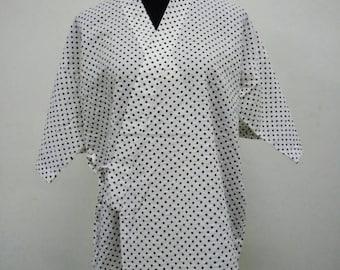 Japanese haori kimono white polkadot kimono jacket /kimono cardigan/kimono robe/#022