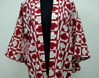 Japanese haori kimono red floral kimono jacket /kimono cardigan/kimono robe/#024