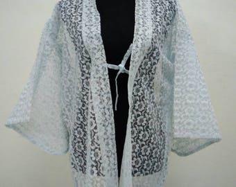 Japanese haori kimono light blue lace floral kimono jacket /kimono cardigan/kimono robe/#044