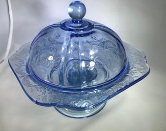 Indiana Glass Pedestal Covered Candy Dish