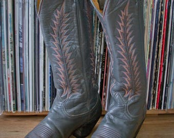 Vintage Tony Lama Cowboy Boots - Grey with Pink Stitching - Western Style