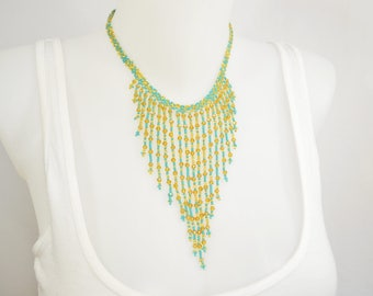 LUUV - CITLALI necklace - gold / Turquoise - style Bohemian exotic