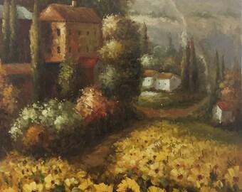 Italian Cottage Scene / Oil Painting / Canvas Art / Wall Art /