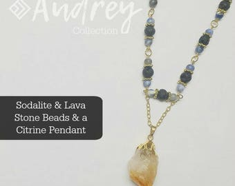 Citrine & Sodalite Diffuser Necklace