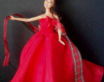 Handmade Barbie Strapless Gown in Red Satin and Tafetta with Tartan and Organza Ribbon