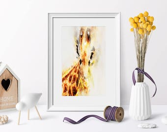 Giraffe Watercolor Art Print,Watercolor Poster,Art Print 8x10, Simple Decor, Watercolor Printable,Dorm Decor, Quote Print