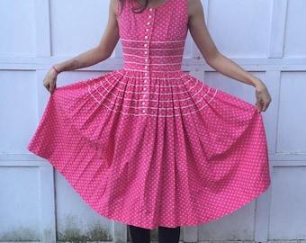 70s Vintage Lanz Original Pink Dress