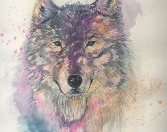 Wolf colorful splash watercolor handmade painting