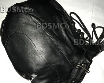 Real Leather Bondage Gimp Mask Slave Hood With Leather Lining Locking Collar JEL2