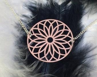 "Necklace ""Rosace"", pastel pink color"