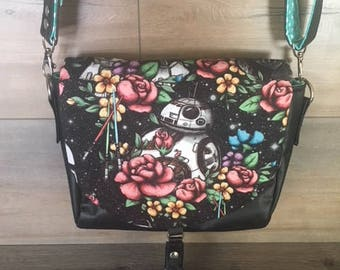 Floral Wars Sweat Pea Saddle Bag, Crossbody, BB8, Faux Leather