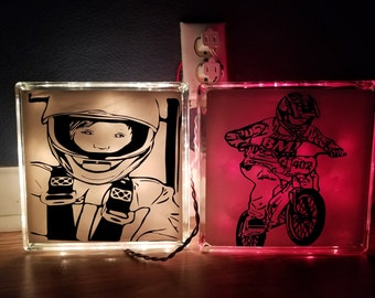custom decals and glass blocks