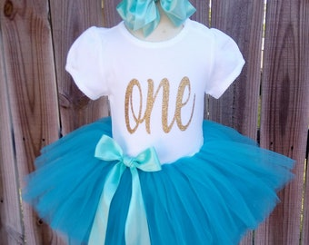 Turquoise and Gold Custom First Second Third Birthday Tutu Outfit Free Personalization