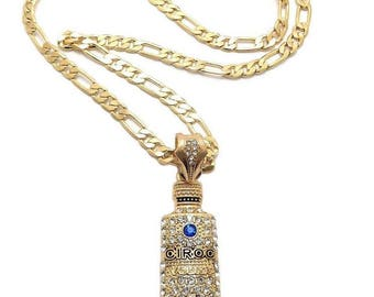 Ciroc Vodka Bottle Gold Tone Pendant with Gold Chain Necklace