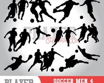 Soccer Men SVG, Soccer player svg, Soccer digital clipart, athlete silhouette, Soccer Men sport, cut file, design, A-018