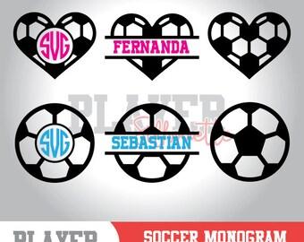 Soccer Monogram SVG, Soccer SVG, Soccer Sport svg, Soccer Ball digital clipart, Soccer silhouette, cut file, design, A-058