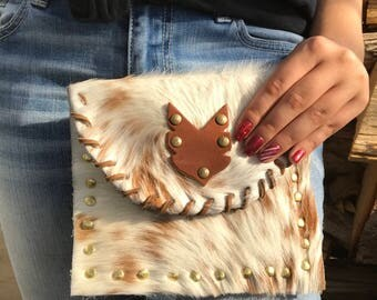 Cowhide on Leather Brown and White Clutch Bag
