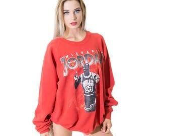 Vintage Iconic Michael Jordon 1980's Sweatshirt Chicago Bulls 90s Jumper Sweater Red Size Large