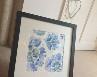 Original Floral Abstract Blue & Gold Mixed Media Painting A4