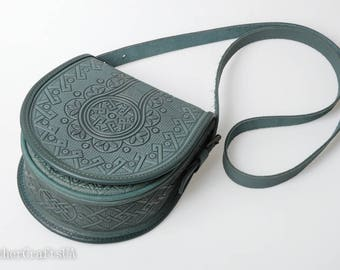 Round crossbody bag, green bag womens, genuine leather, tooled leather purse, shoulder leather bag, hot tooled leather, unigue bag for her
