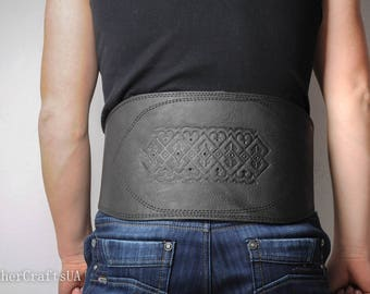 Leather men's corset, black corset belt, waist leather belt, viking belt, wide leather belt, athletic belt, viking corset, gift for man