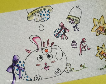 Easter illustrations, watercolor. Easter illustration, watercolor 10x15cm