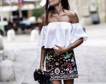 Black Boho Mini Casual Floral Embroidery Skirt