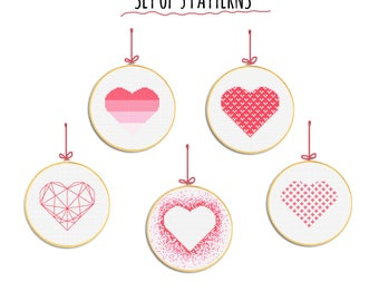 Valentines day cross stitch patterns Heart pattern pdf Valentine gift for mom for wife for girl for her for him Valentine hoop Set of 5