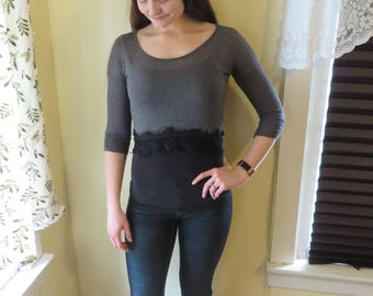 "Nursing Shirt""Charlotte Russe"" Gray/Black Nursing Shirt Size XS"