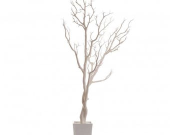 3 FT. White Tree Manzanita Crystal Tree Potted Wedding Wishing Event Bridal Baby Shower Anniversary Centerpieces Faux Fake Tree Black Decor