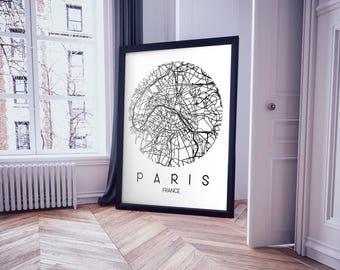 Paris, France City Street Map Print | Wall Art Poster | Wall decor | 8*10