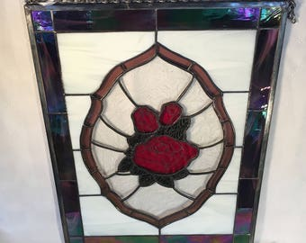 Red Rose Panel with Metal Detail